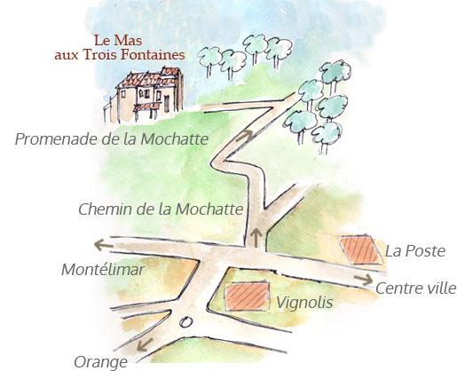 plan accés au Mas dessiné